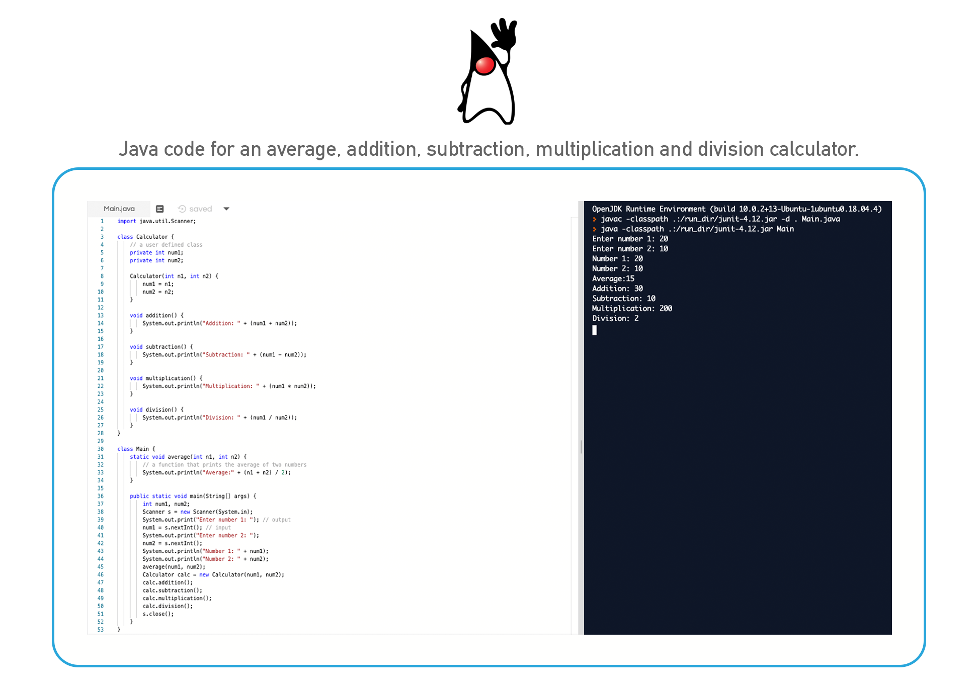 Java coding language